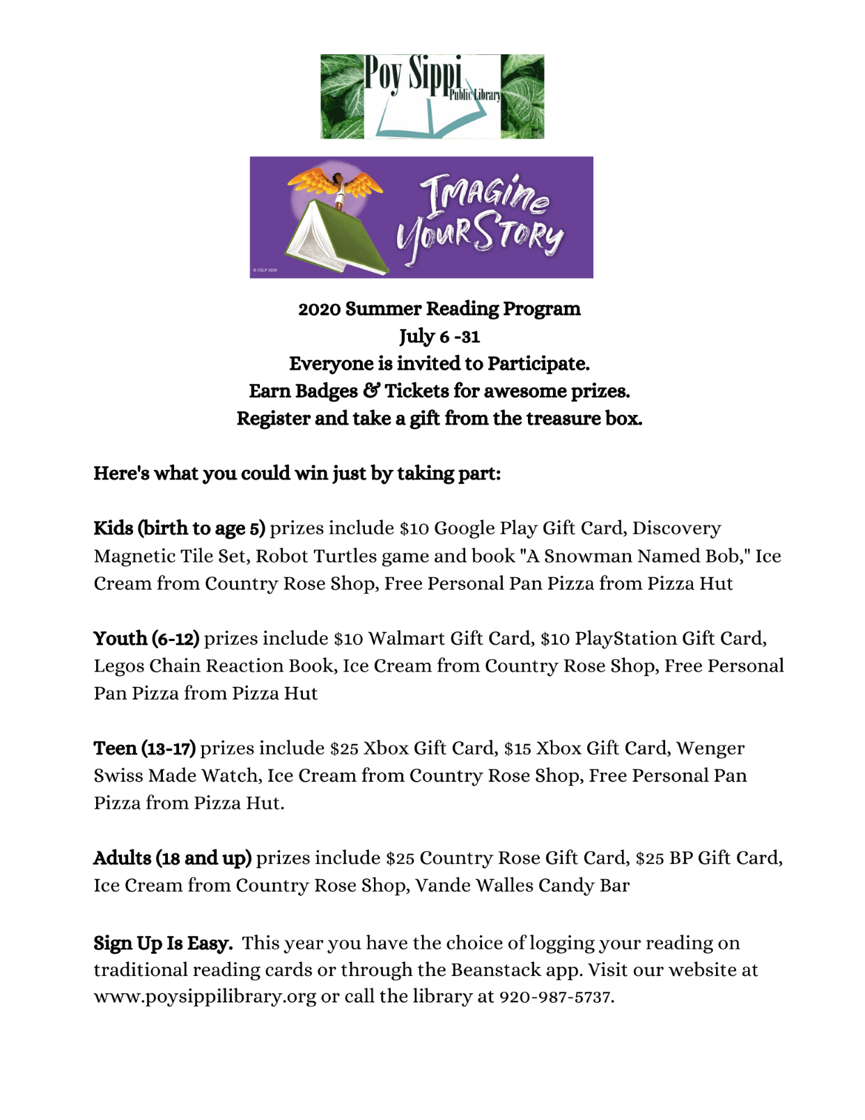 Summer Reading Program Starts July 6